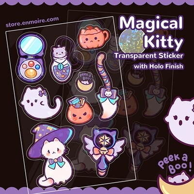 Magical Kitty Transparent Holo Sticker