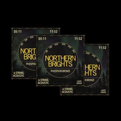 3 SETS: Northern Brights DS-11 | Phosphor Bronze Acoustic Guitar Strings | 11-52