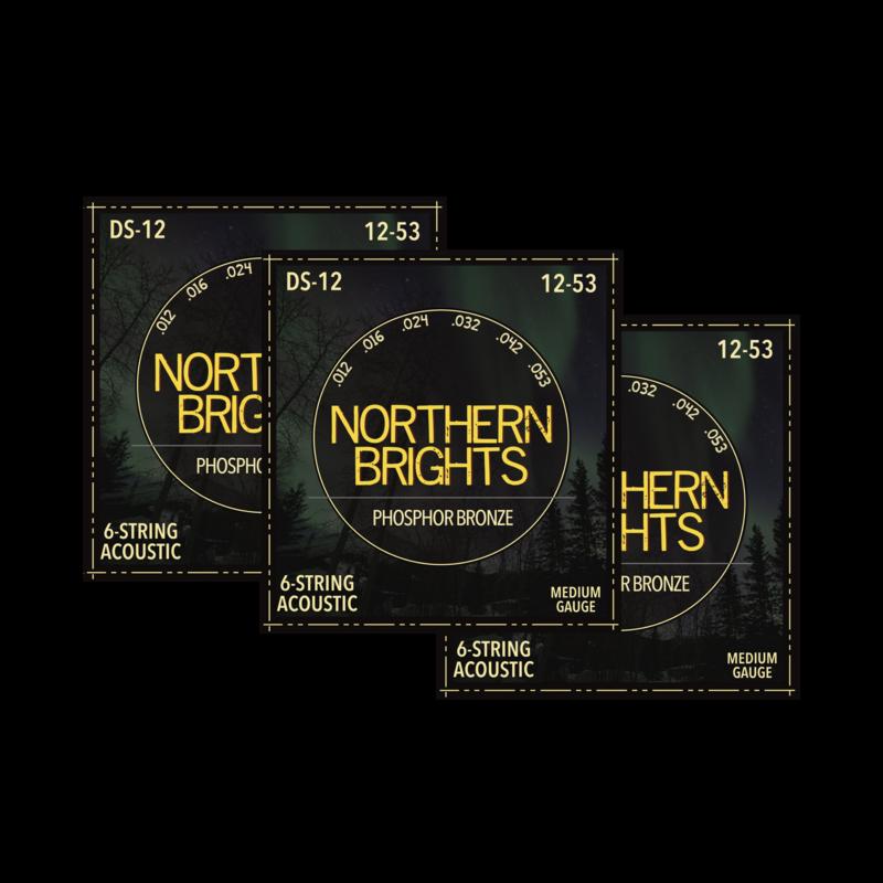 3 SETS: Northern Brights DS-12  | Phosphor Bronze Acoustic Guitar Strings | 12-53