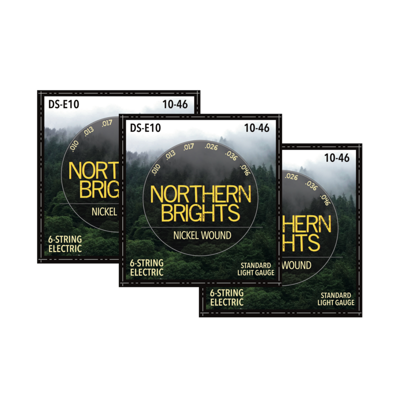3 SETS: Northern Brights DS-E10  |  Nickel-Wound Premium Electric Guitar Strings |  10-46