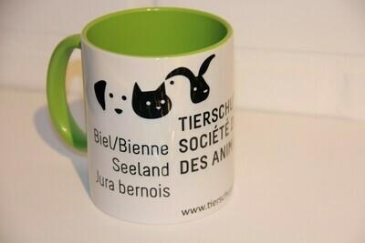 Kaffeetasse (weiss/hellgrün)
