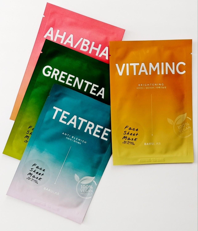 """Barulab   """"Skin Solution"""" Vegan Sheet Mask Set (4 ct)"""