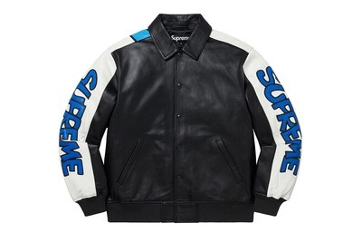 Supreme Smurfs Leather Varsity Jacket