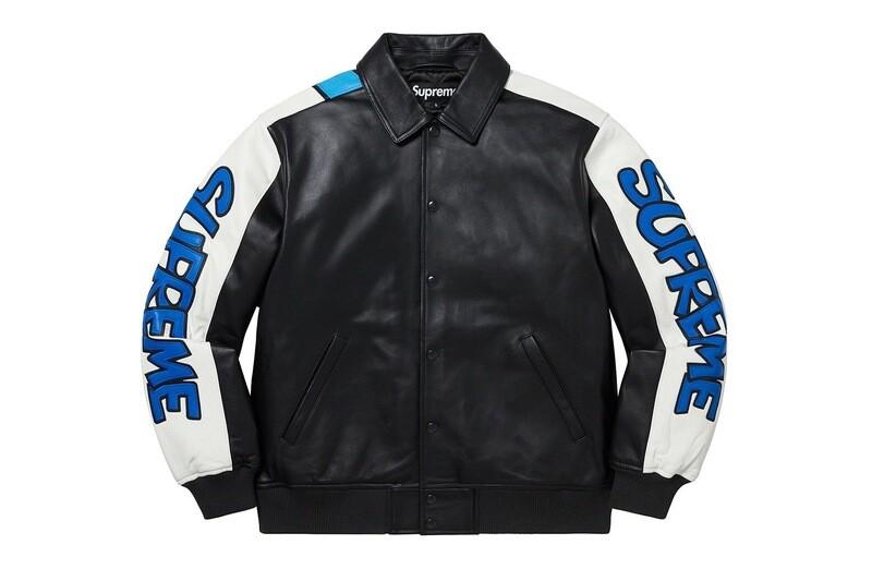 Supreme Smurfs Leather Varsity Jacket
