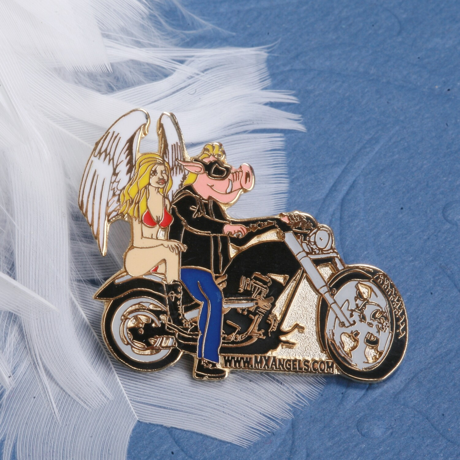 Grace The Guardian Angel Couple  Riding with the Chopper / Harley  Motorcycle Hog Pin