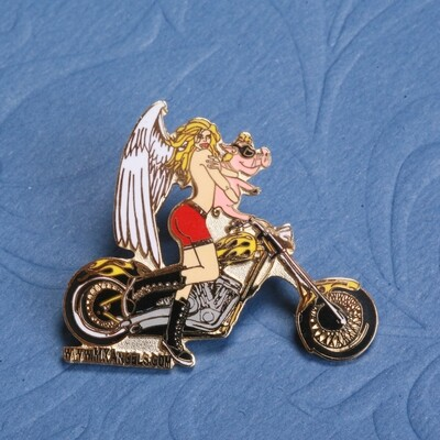 Gloria The Guardian Motorcycle Angel  Pin
