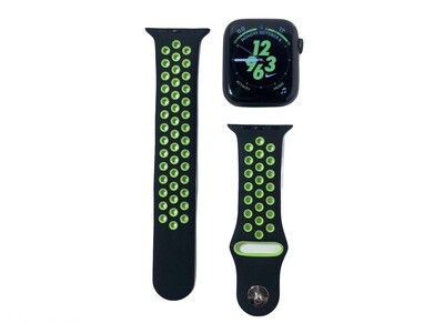 Apple Watch Silicone Band [Black/Green]