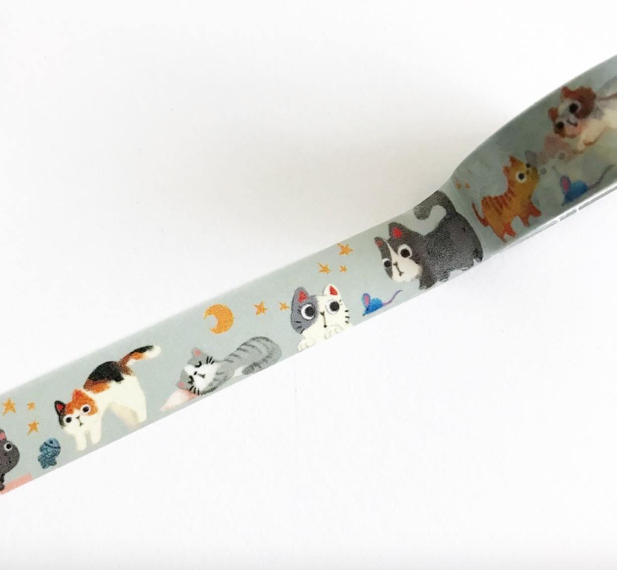 Washi, Narrow Cats,grey-blue