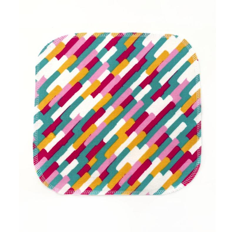 Napkins, pink-yellow-turquoise stripes