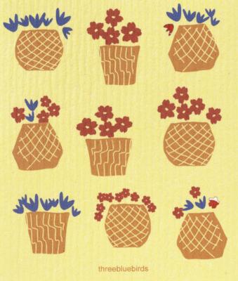 Swedish Paper Towel, Flower Pots on Yellow