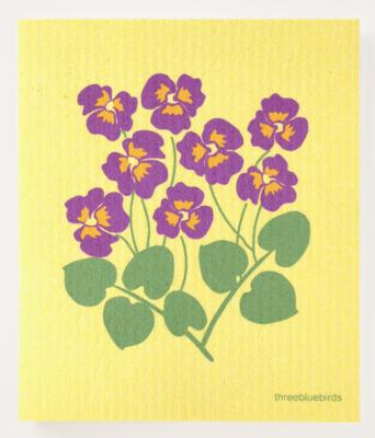 Swedish Paper Towel, Pansies on Yellow