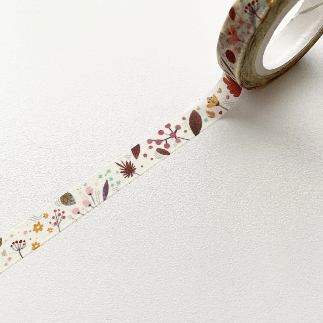 Washi, Flowers on Cream - narrow
