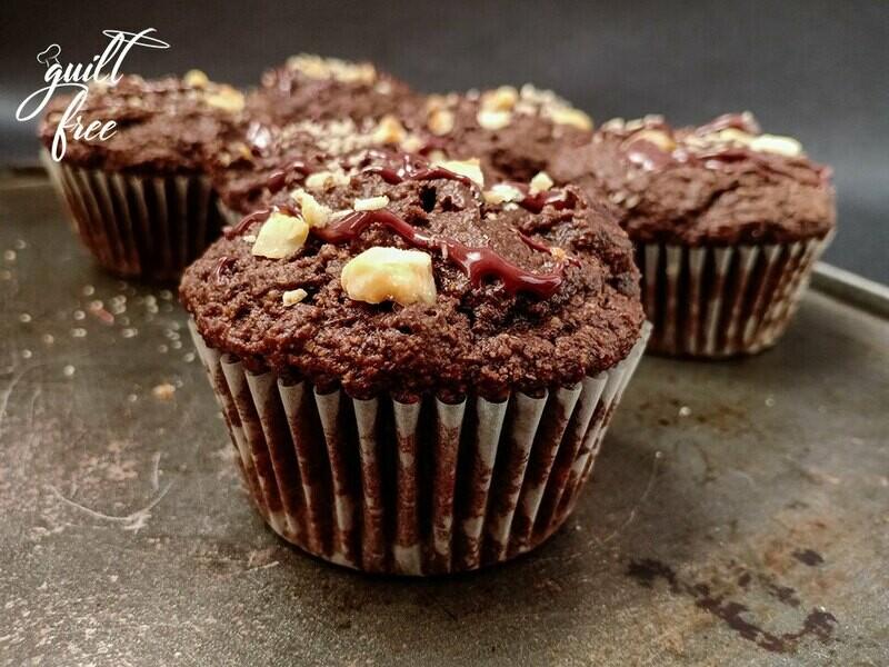 Hazelnut Dark Chocolate Muffins (Eggless, Gluten-Free)
