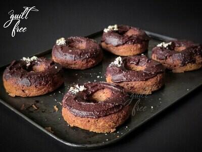 Vanilla Donuts frosted with Dark Chocolate Hazelnut Spread (Eggless, Gluten-Free)