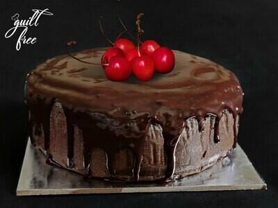 Chocolate Cherry Cake with Chocolate Glaze (Eggless)