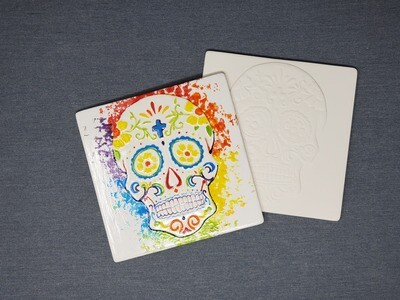 Day of the Dead Engraved Tile