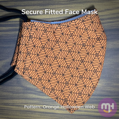Orange Halloween Web - Secure Fitted Face Mask - Large