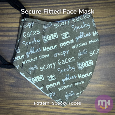 Grey Halloween Spooky Faces - Secure Fitted Face Mask - Large