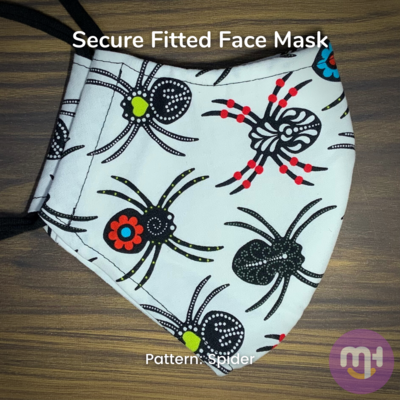 White Halloween Spider - Secure Fitted Face Mask - Large