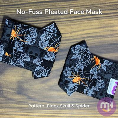 Black Halloween Skull & Spider - No-Fuss Pleated Face Mask