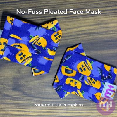 Blue Halloween Pumpkins - No-Fuss Pleated Face Mask
