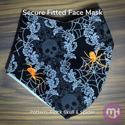Black Halloween Skull & Spider - Secure Fitted Face Mask