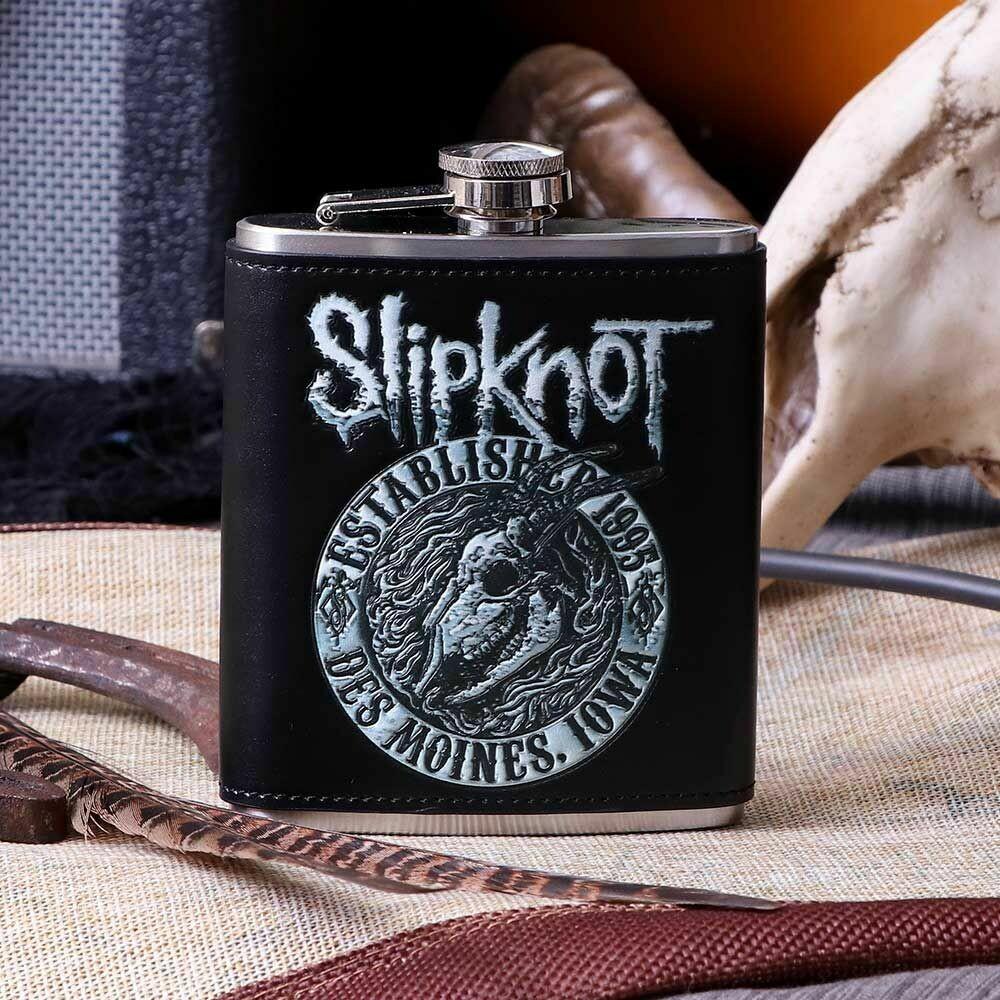 Slipknot- Flaming Goat Logo Hip Flask