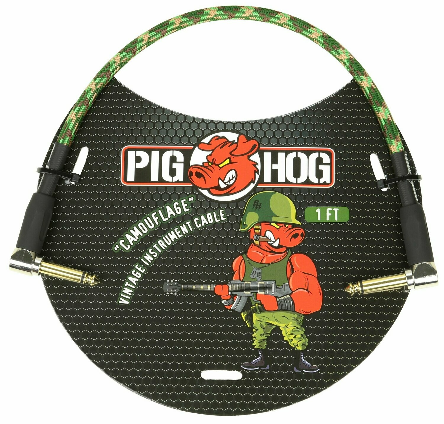 """PIG HOG """"CAMOUFLAGE"""" 1FT RIGHT ANGLED PATCH CABLES"""