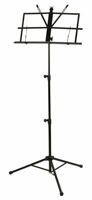 DELUXE 3-PART FOLDING MUSIC STAND W/BAG - BLACK