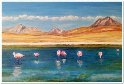 Laguna con flamingos