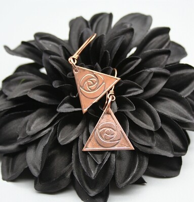Triangle Rose Earrings