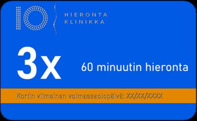 3 x 60 minuutin hieronta sarjakortti