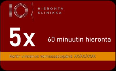 5 x 60 minuutin hierontasarjakortti