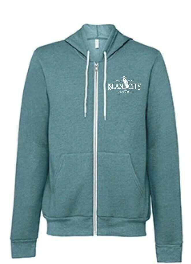 Heather Teal Zipped Hooded Sweatshirt with Logo