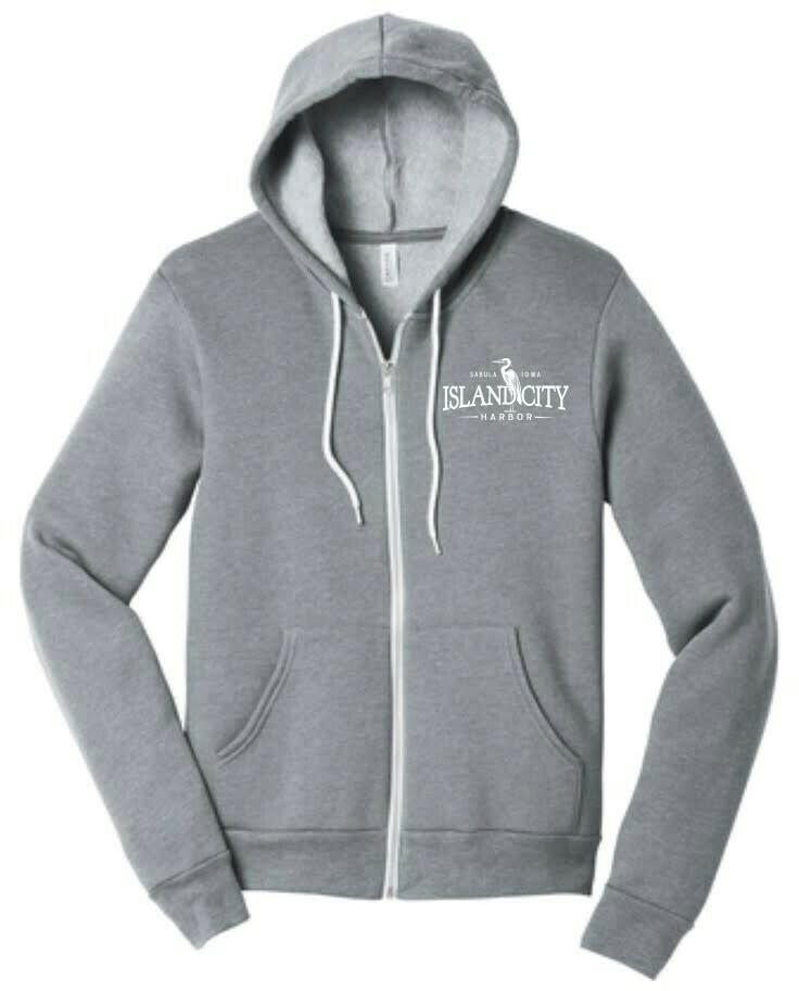 Heather Grey Zipped Hooded Sweatshirt with Logo
