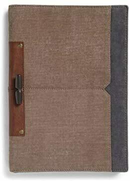 Mona B Ronin Upcycled Canvas Folio Case with Vegan Leather Trim