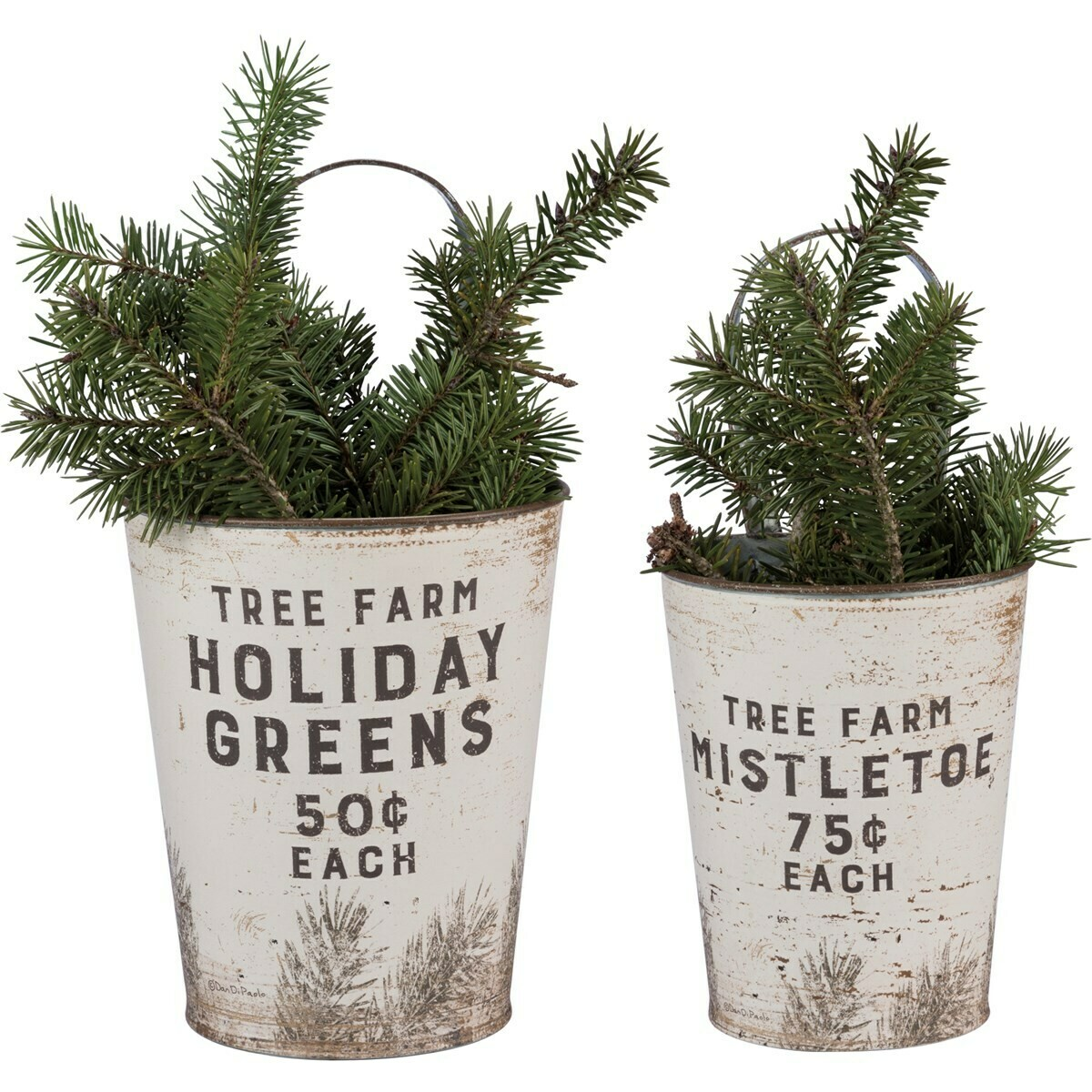 Set of Two Metal Holiday Pails