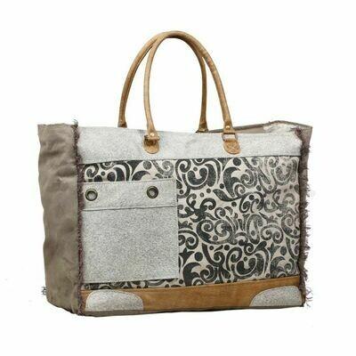 Hide & Floral Print Weekender Bag