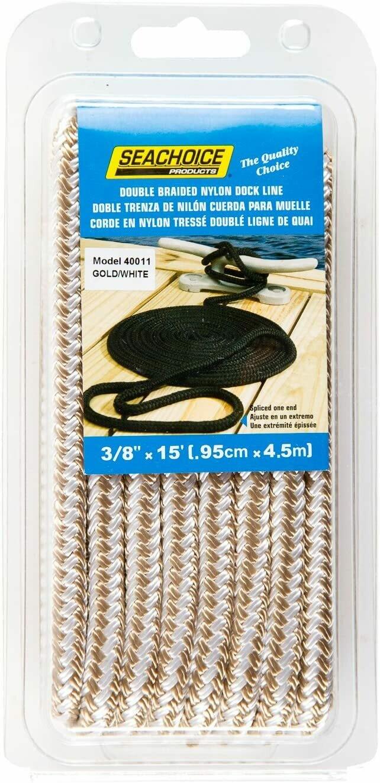 SEACHOICE Double-Braid Nylon Dock Line 3/8 x 15' 40011 Gold/White