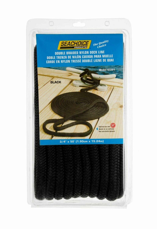 Seachoice Black Braided Dock Line 3/4