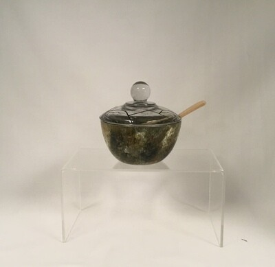 Lidded Painted Glass Bowl with Spoon - Forest Glen