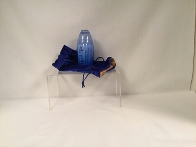 Blue Lustered Glass  in Velvet Bag - Wedding