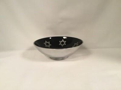 Black Enamel Aluminum Bowl with  Silver Stars of David