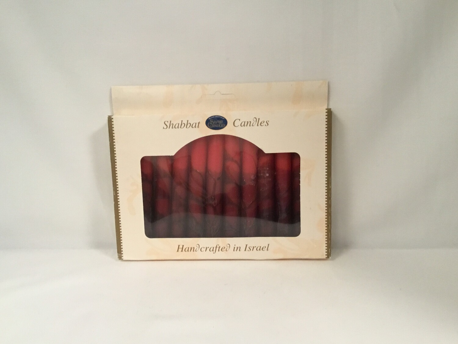 Safed Red Head Shabbat Candles - 12