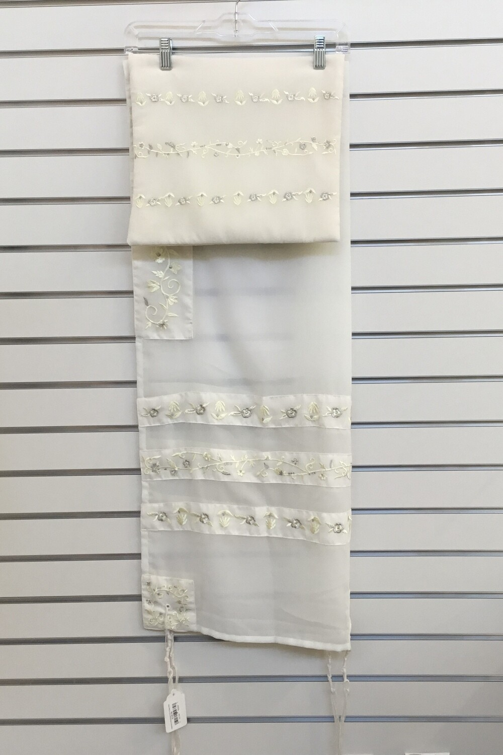 Organza Embroidered Tallit & Bag, Cream Stripes & Silver Flowers