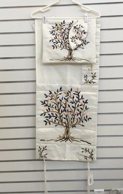 Tree of Life Raw Silk Tallit Set