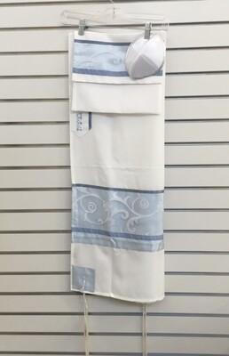 Light Blue Scroll Motif Tallit Set