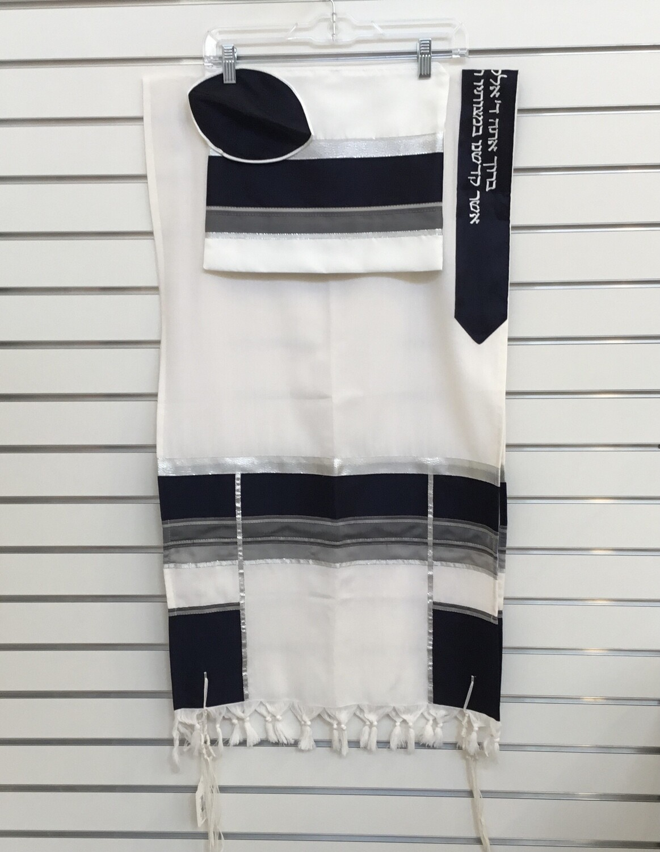 Navy/Silver Handwoven Tallit Set