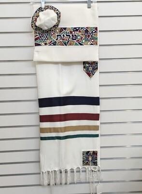 Multi-Color Silk Magen David Tallit Set