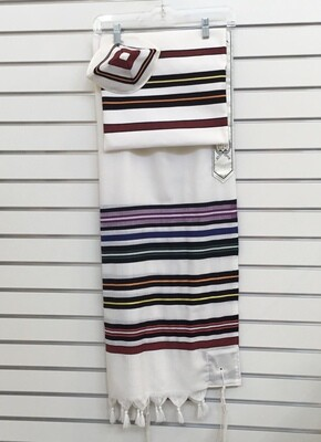 Tallit Kippah and  Bag, White/Multi Color